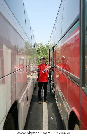 Happy Bus Traveler
