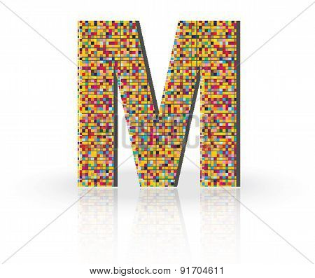 3D Vector Font with Reflection Alphabet Letter M