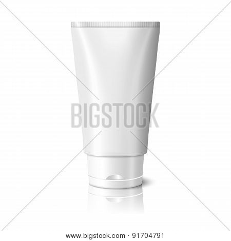 Blank white realistic tube for cosmetics, cream, ointment, toothpaste, lotion, medicine creme etc. V