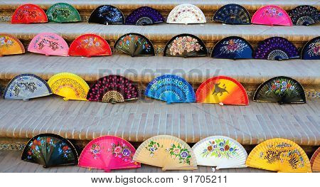 Spanish colorful fans in the exhibition