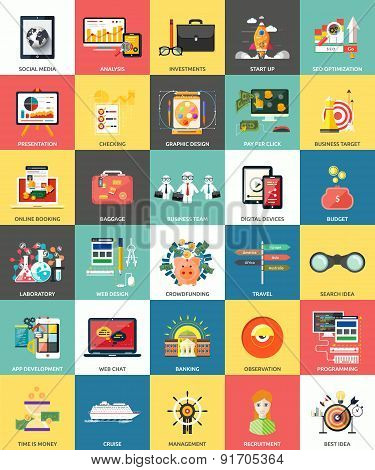 Set of business concepts icons