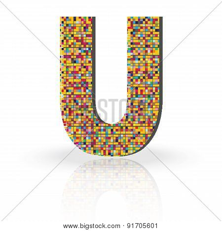 3D Vector Font with Reflection Alphabet Letter U