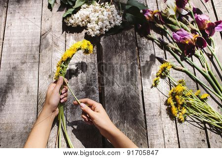 Flower Decoration Of Dandelions And Flowers Handmade On Wood Table