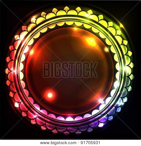 Abstract Colorful Glowing Background With Frame And Blank Space For Text. Vector Illustrations.