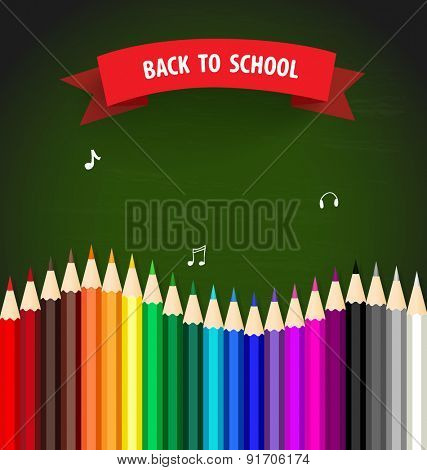 Welcome back to school with colour pencils background, vector illustration.