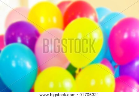 Group Of Colorful Balloons, Blurred Photo