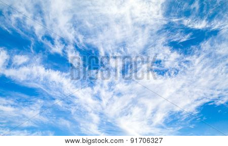 Natural Bright Blue Cloudy Sky Background