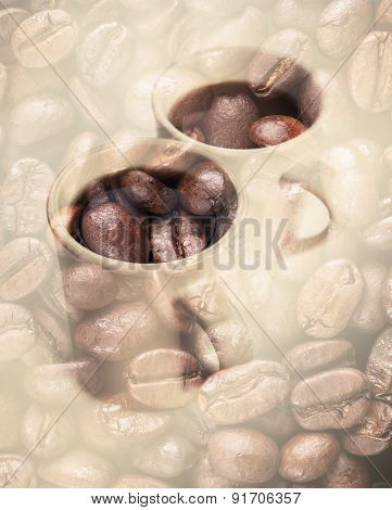 Coffee Cups Over Dark Rusted Coffee Beans