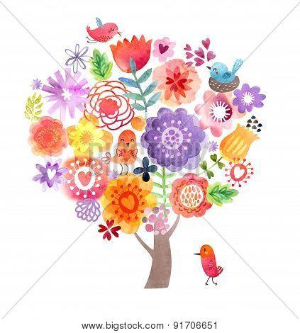 Cute watercolor tree