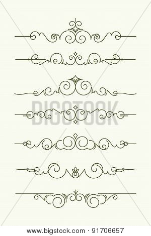 Set Of 7 Decorative Text Dividers. Vector Illustration In Mono Line Style.
