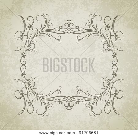 Vintage Vector Frame On Grunge Style Background.