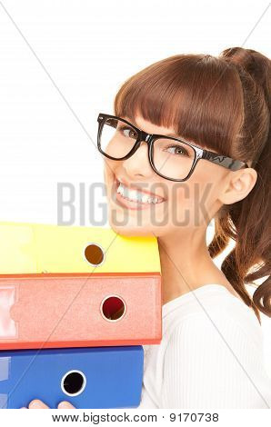 Businesswoman With Folders