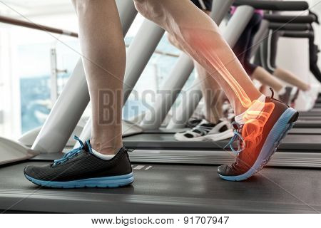 Digital composite of Highlighted bones of man on treadmill