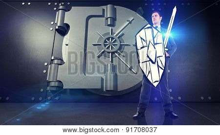 Corporate warrior against digitally generated metallic safe