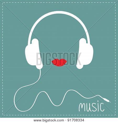White Headphones With Cord. Red Lips Music Card. Flat Design
