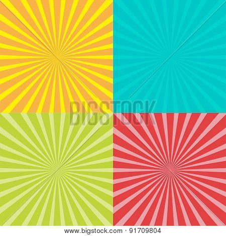 Sunburst Set With Ray Of Light. Template. Four Abstract Background.