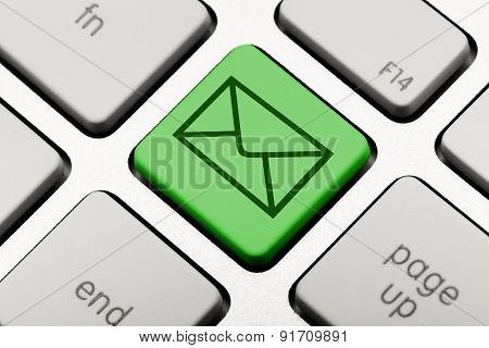 green email symbol on computer keyboard nline communication