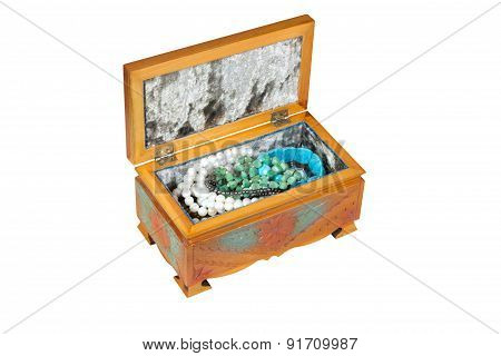 Wooden Open Casket With Jeweliry Isolated On White Background