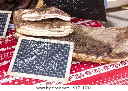 pancetta, market in Nyons, Rhone-Alpes, France