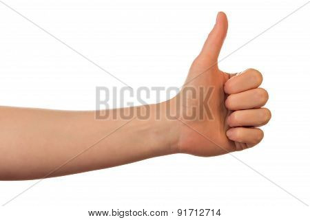 Hand showing thumbs up