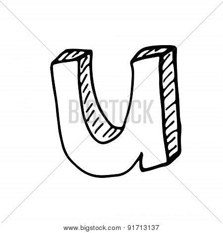 English Alphabet - Hand Drawn Letter U