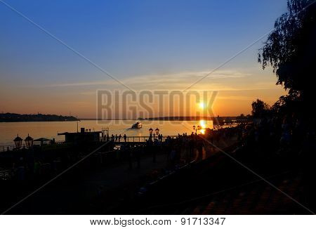 Sunset On Coast Of River Volga