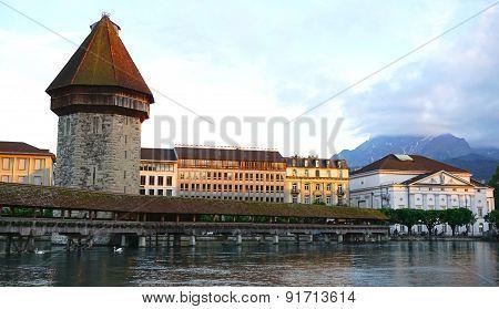 Historical Wooden Chapel Bridge In Lucerne