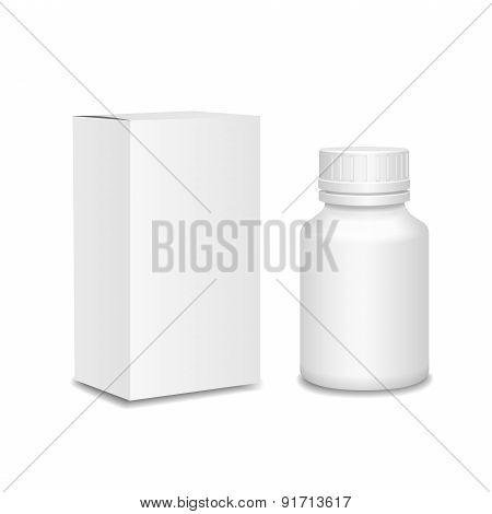 Medicine bottle on white background. White plastic bottle, cardboard package