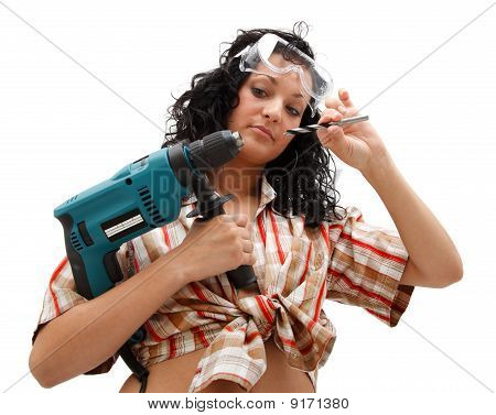 Repair Woman With Driller