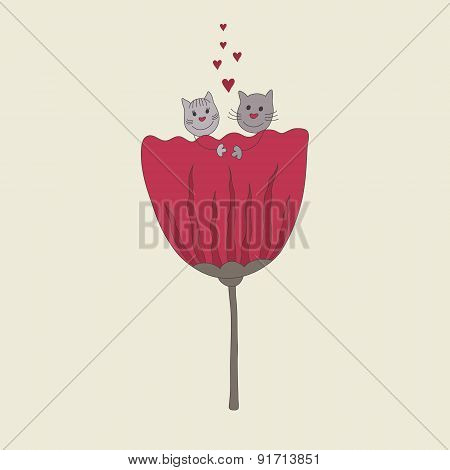 Beautiful Couple Of Cute Cats. Doodling Design.