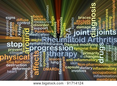 Background concept wordcloud illustration of rheumatoid arthritis RA glowing light