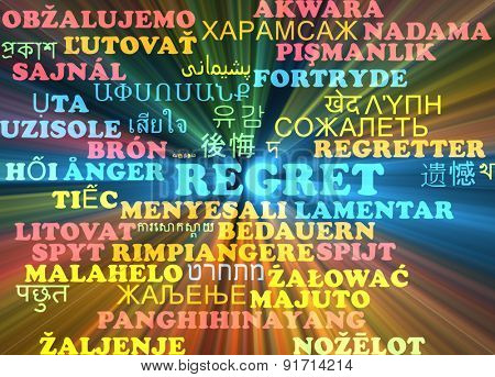 Background concept wordcloud multilanguage international many language illustration of regret glowing light