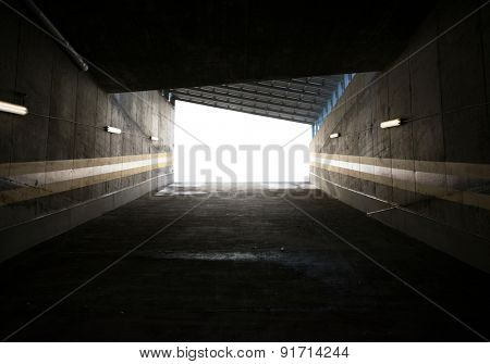 Garage entrance, concrete walls surrounding