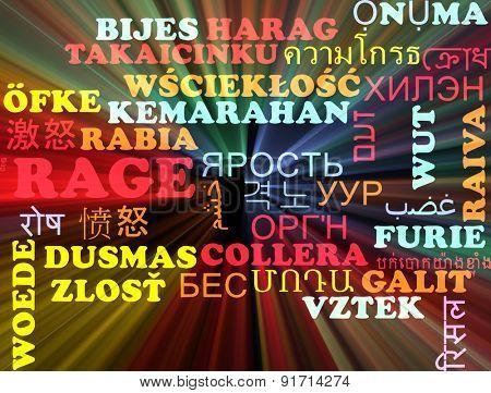 Background concept wordcloud multilanguage international many language illustration of rage glowing light