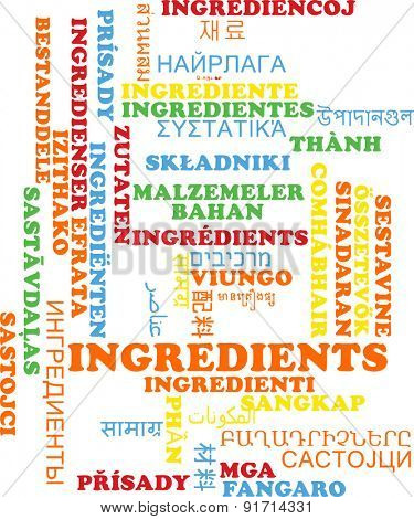 Background concept wordcloud multilanguage international many language illustration of ingredients