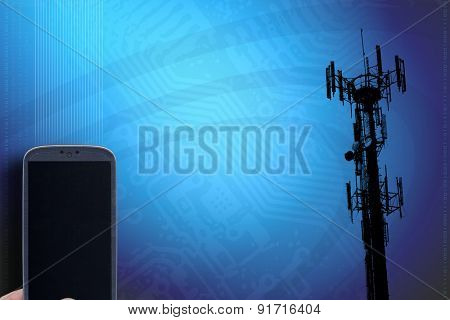 Smartphone and blue technology background. Idea for telecommunication, digital detox, carriers, accessing apps, programming binary and codes, Internet, blogs and others.
