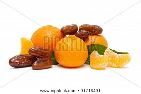 Ripe Tangerines And Figs Isolated On White Background