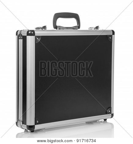 Silver steel suitcase