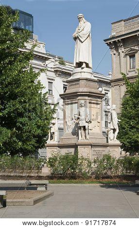 Milan. Leonardo Da Vinci's Monument.