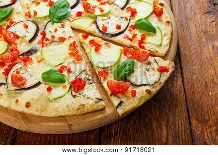 Delicious Vegetarian Pizza With Aubergines And Zucchini