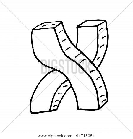 English Alphabet - Hand Drawn Letter X