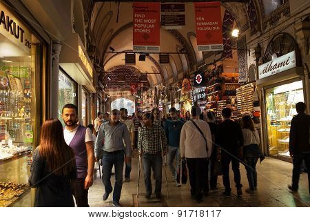 ISTANBUL, TURKEY - MAY 13 2015 : Shoppers enjoy the atmosphere of the Grand Bazaar.