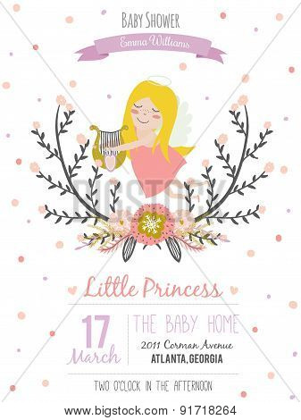 Cute, romantic and lovely baby shower card for girl