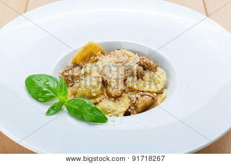 Traditional Italian Cuisine Mushroom Ravioli
