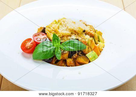 Traditional Italian Pasta With Aubergine And Zucchini