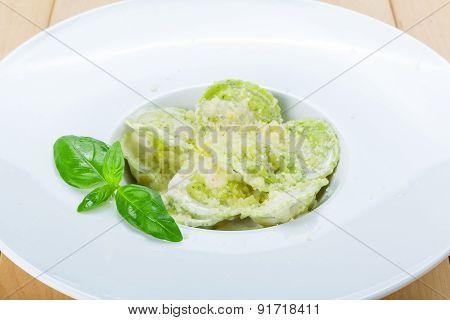 Green Spinach And Ricotta Cheese Ravioli