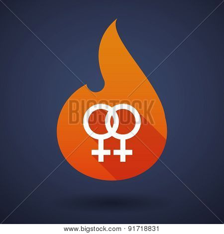 Flame Icon With A Lesbian Sign