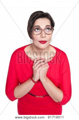 Praying Plus Size Woman In Glasses Isolated. Top View