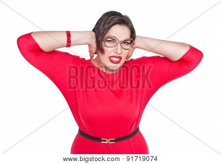 Beautiful Plus Size Woman In Glasses Covering Her Ears With Her Hands