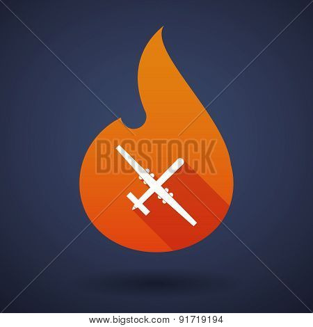 Flame Icon With A War Drone